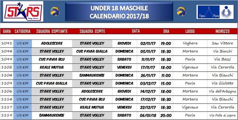 Calendario Volley Maschile 2020.Calendario Gare Under 18 Maschile Blog E News Sito
